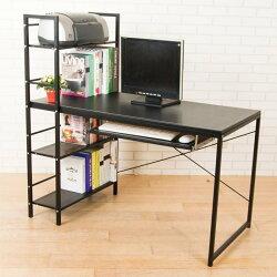 加深60馬鞍皮防潑水層架鍵盤工作桌(附收線孔+調整腳墊+書擋) 電腦桌 【型號DE1230BK-K 】可加購鍵盤架、抽屜
