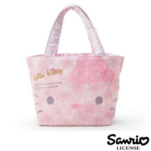 【日本進口正版】凱蒂貓 HelloKitty 櫻花 手提袋 便當袋 三麗鷗 Sanrio - 272893