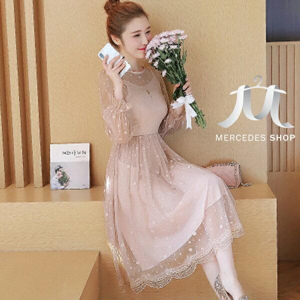 《全店75折》春裝蕾絲拼接中長裙波點連身裙長袖洋裝(S-XL,3色)-梅西蒂絲(現貨+預購)