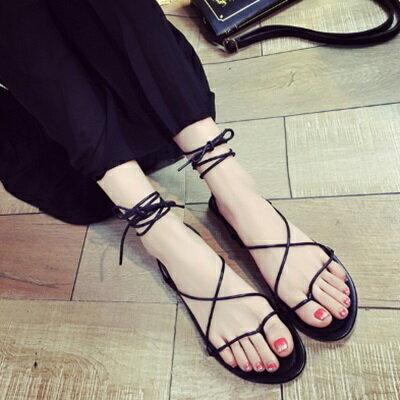 平底鞋綁帶羅馬涼鞋~簡約細緻 優雅女鞋子2色73ey26~ ~~米蘭 ~