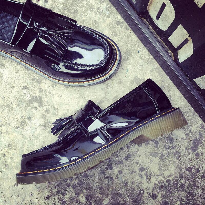森林系女孩日系牛津鞋黑色漆皮復古英倫學生鞋潮流流蘇平底牛筋底防滑小皮鞋