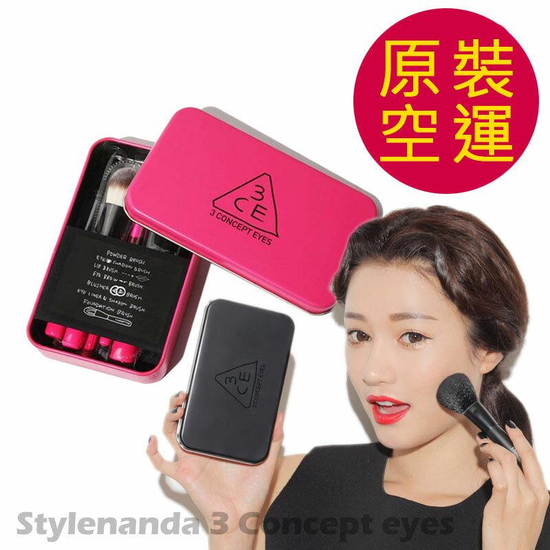 3CE MINI BRUSH 正韓粉色鐵盒 七件組刷具套組-超值組 彩妝組(粉/黑)?AN SHOP?