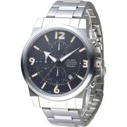 ALBA 極速賽車儀錶盤三眼計時男錶-黑(AM3365X1)/38mm