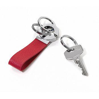 TROIKA  客製化雷射刻印滾球軸承環鑰匙圈(紅皮革 ; 亮鉻金屬)