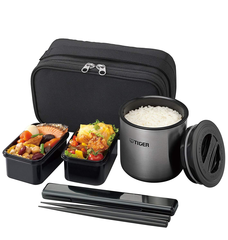 日本公司貨 TIGER 虎牌 LWY-E461 攜帶式便當組 真空保溫便當飯盒 不銹鋼 保溫 便當盒 保溫餐盒 飯盒 附提袋 0.98L 日本必買