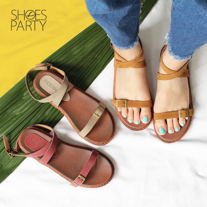 【S2-18706L】Simple+可調寬度,繞帶Q彈漢堡底涼鞋_Shoes Party 0
