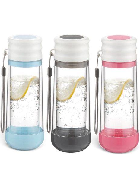 美國DRINKADEUX 雙層防撞玻璃瓶安全水壺-經典杯蓋款【黑色】