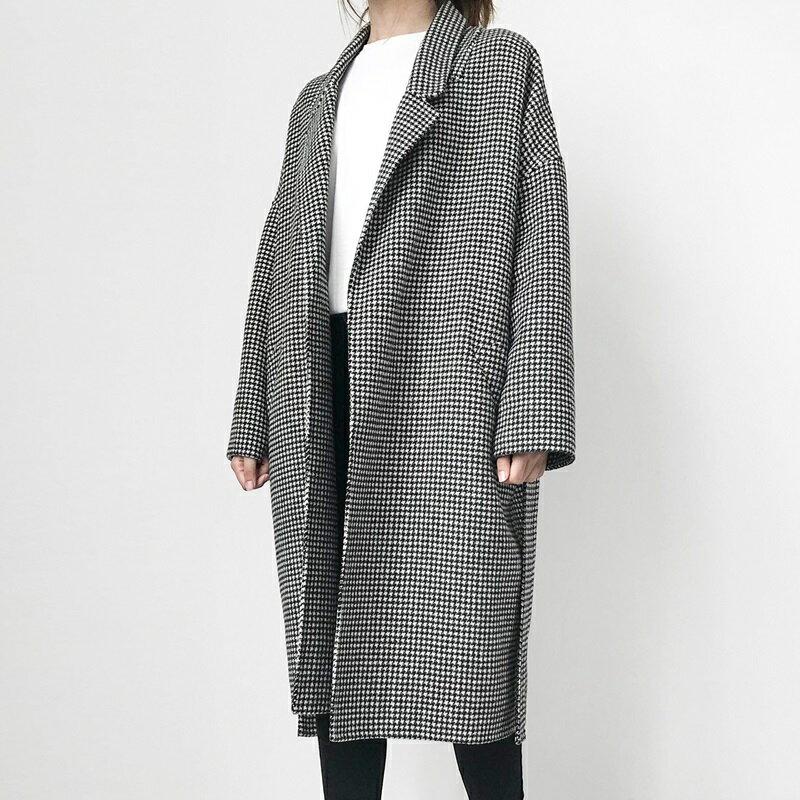 毛呢大衣羊毛外套-千鳥格繫帶寬鬆長版女外套73wb33【獨家進口】【米蘭精品】 2
