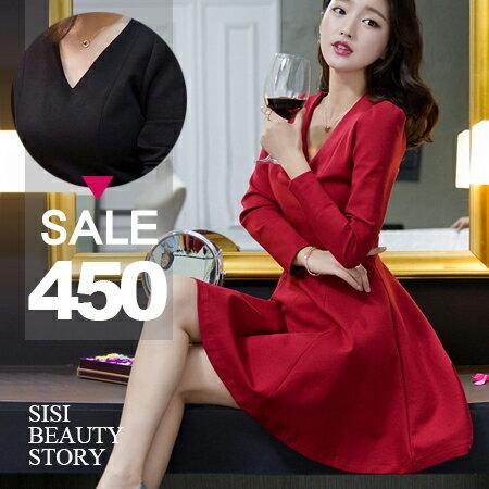 SISI【D6046】韓版優雅氣質V領泡泡袖縮腰顯瘦長袖傘襬連身裙洋裝修身連身小禮服