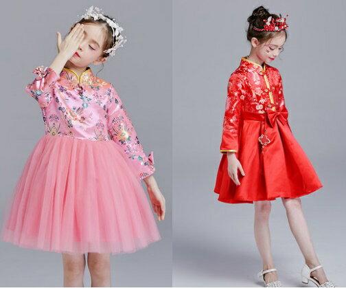 天使嫁衣:天使嫁衣【童C0104】2色中國風改良式旗袍澎紗女童小禮服˙預購訂製款