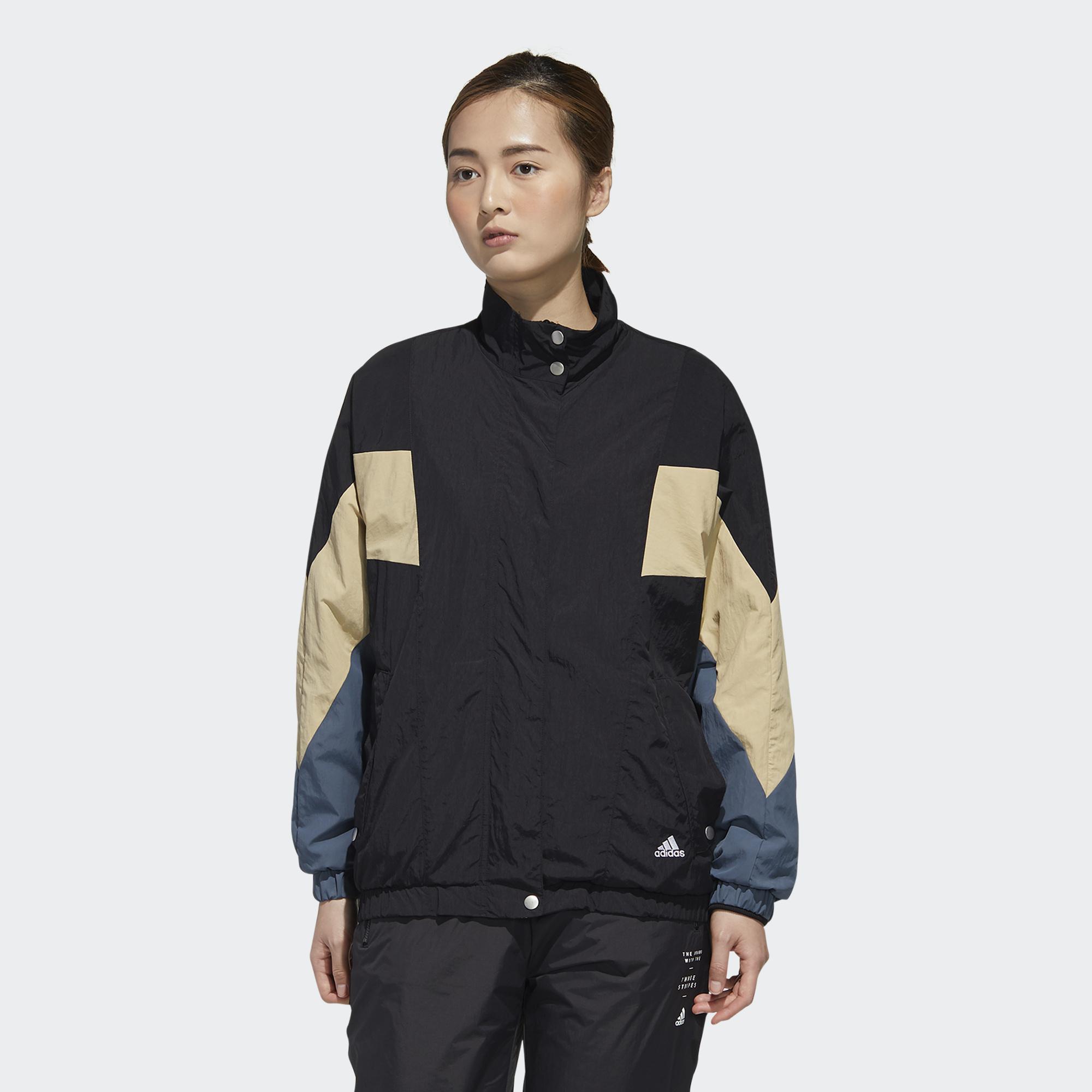 【滿額最高折318】Adidas W MHS WORDING 女裝 外套 風衣 休閒 按扣口袋 羅紋袖口 色塊 黑【運動世界】GF6958