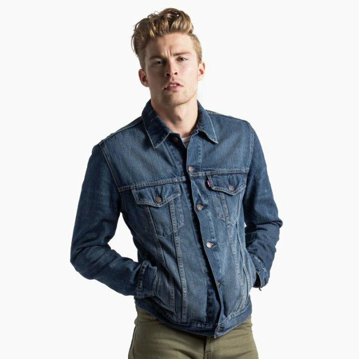 美國百分百【全新真品】Levis 外套 立領 騎士 夾克 牛仔 硬挺 修身 帥氣 經典款 男 藍色 XS號 I686