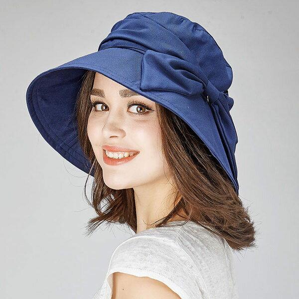 麻吉小舖:帽子女春夏遮陽帽休閒防曬帽盆帽100%棉麻透氣舒適防紫外線大蝴蝶結