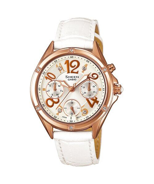 CASIO SHEEN SHE-3031G-7A繽紛霓虹時尚腕錶/白色35mm