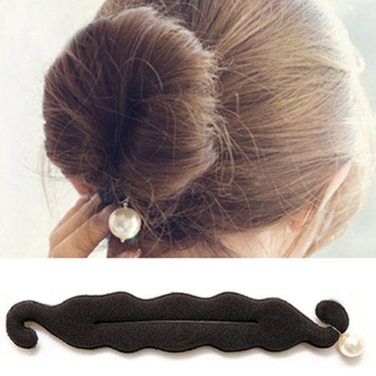 PS Mall 韓國最新海綿寶寶 珍珠雙鉤綁帶丸子頭海綿盤髮器 DIY髮器 髮包【H046】