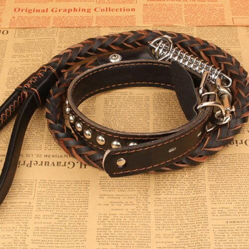 【寵物貴族】頂級牛皮時尚設計編織寵物牽繩/寵物拉繩 粗曠雅痞款/中大型