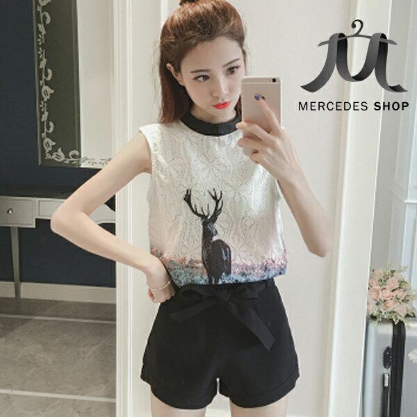 《全店75折》中大尺碼時尚兩件式無袖上衣+雪紡短褲套裝(S-2XL,2色)-梅西蒂絲(現貨+預購)