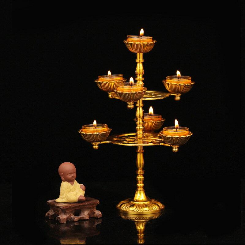 純銅蓮花七星燈架24小時酥油燈座固體酥油蠟長明燈盞燭臺復古擺件
