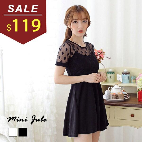 洋裝 點點網紗拼接打摺短袖連身裙 小豬兒 MiNi Jule ~YAA51003046~