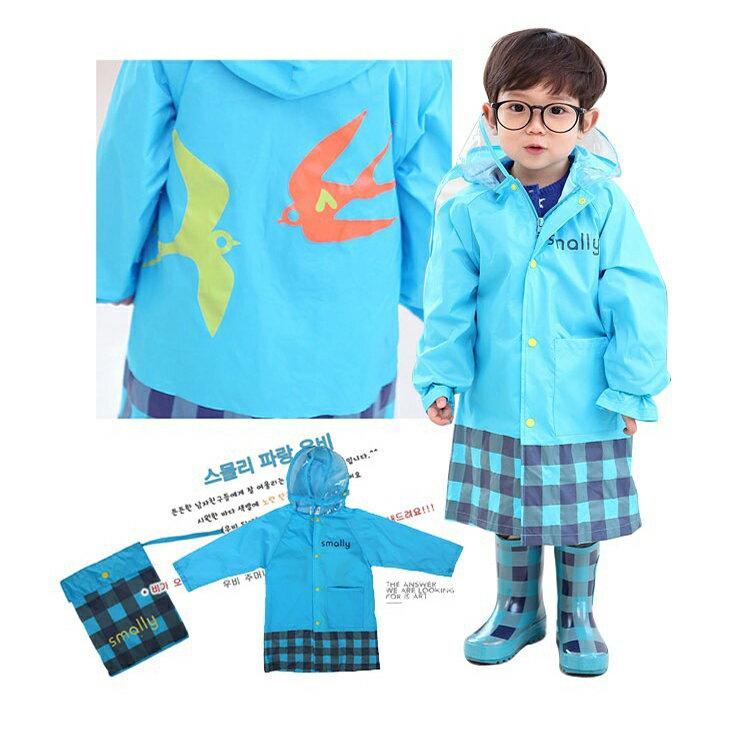 Smally◆時尚可愛動物星星圓點格子兒童雨衣-藍色