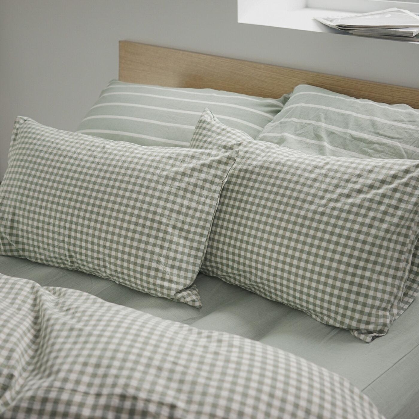 枕套-2入 [水洗棉-細格綠] 新疆棉寢織品;自然無印;簡約設計;翔仔居家