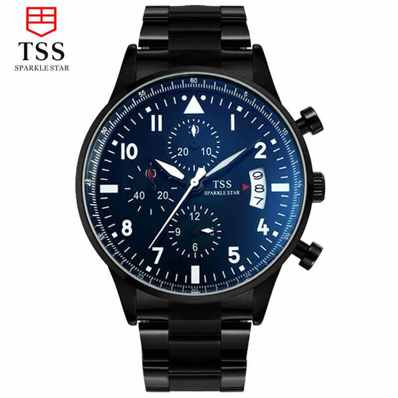 細緻工法夜光精鋼男士手錶防水皮帶時裝表十天