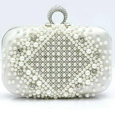 珍珠晚宴包 鏈條包 -派對時尚水鑽戒指 女手拿包 7色71as47【獨家進口】【米蘭精品】