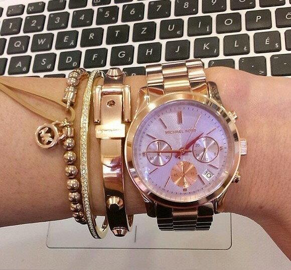 美國Outlet 正品代購 Michael Kors MK 三環 螢光紫精鋼 滿鑽 手錶 腕錶 MK6163 7