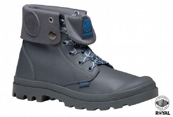 Palladium 新竹皇家 Palladium Baggy 灰色 皮質 防水 爆裂紋 反摺靴 男女款 NO.A8477