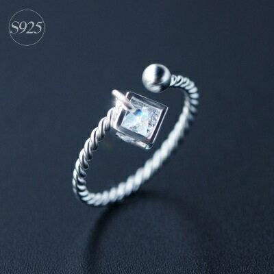 925純銀戒指鑲鑽開口戒~ 艷麗奢華璀璨七夕情人節 女飾品73dt308~ ~~米蘭 ~
