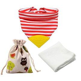 【淘氣寶寶】美國 Meta-U 嬰兒咬咬兜/領巾/圍兜/固齒器 (附外袋+竹纖維方巾) 橘紅條紋