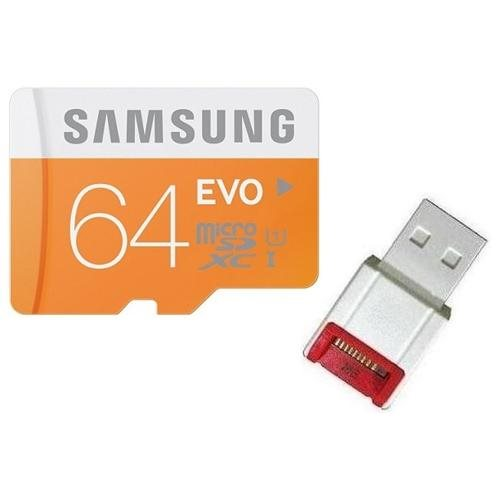 Samsung EVO 64GB microSDXC Class 10 48Mb/s 64G microSD micro SD SDXC UHS-I U1 C10 MB-MP64D fit GALAXY S5 with OEM USB 2.0 Card Reader 0