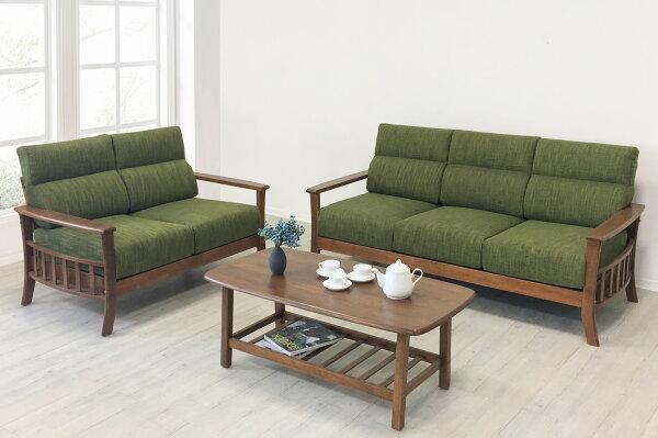 !新生活家具!《朝氣》2+3人位沙發雙人沙發三人沙發布沙發木製沙發亞麻布橡膠木自然清新綠色