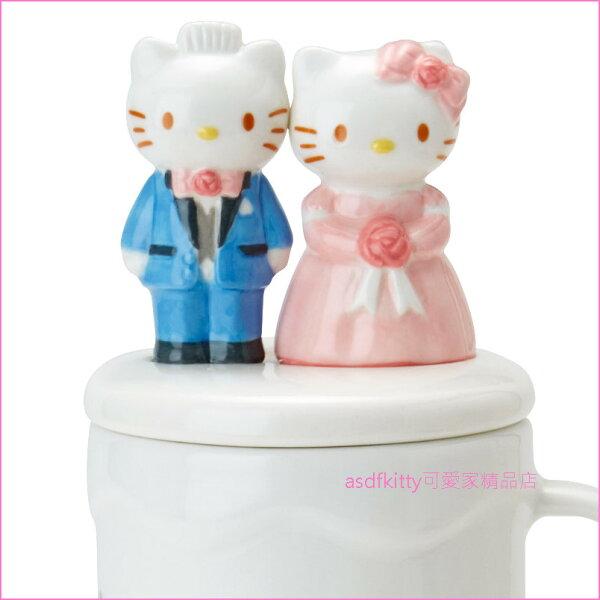 asdfkitty可愛家☆KITTY結婚愛心造型陶瓷戒指盤-日本正版商品