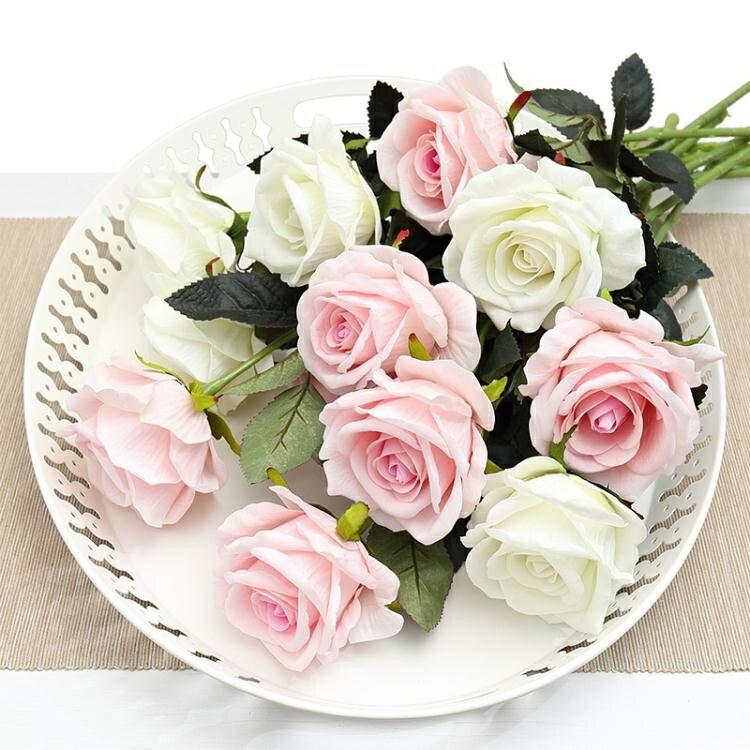 假花 仿真玫瑰花單支 假玫瑰花 客廳裝飾花絨布紅玫瑰仿真花束絹花假花 1