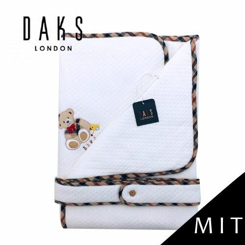 【限量破盤5折】英國【DAKS】MIT經典純棉緹花小蓋被/包巾(純白色)