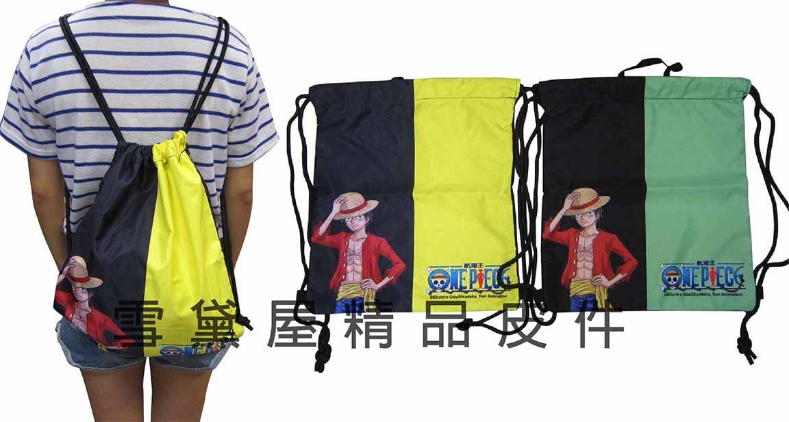 ~雪黛屋~航海王 束口後背包簡易好收納可放A4資料夾防水尼龍布材質隨身包正版限量授權品 OP1618