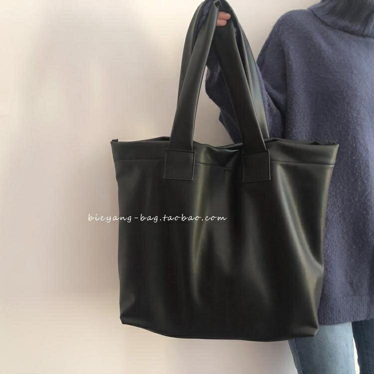 側背包 別樣自制新款韓國ins簡約復古軟皮高級感側背大容量托特包女