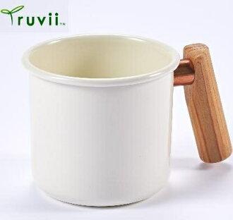 [ Truvii ] 木柄琺瑯杯/木頭琺瑯杯/琺瑯咖啡杯/日系雜貨風馬克杯 250ml月光白