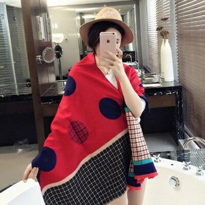 圍巾羊毛絨長披肩-歐美時尚英倫格紋女圍脖4色73hy16【獨家進口】【米蘭精品】