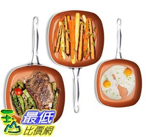 [8美國直購] 不沾鍋 Gotham Steel 1682 Nonstick Copper Square Shallow Pan 3 Piece Cookware Set Chef Daniel Green - 限時優惠好康折扣