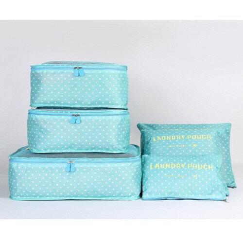 【迪特軍3C】大印花網格旅行衣物收納整理袋6件組-水藍點點印花收納袋6六件套
