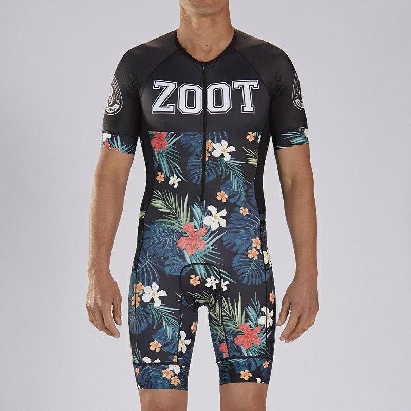 【7號公園自行車】ZOOT 19S EST.83 TRI AERO 男性前開襟有袖三鐵上衣(黑/花朵)