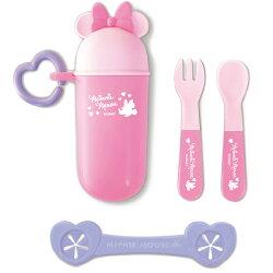 日本 迪士尼 Disney 米妮攜帶餐具組+餐巾夾 附收納盒~粉色★衛立兒生活館★