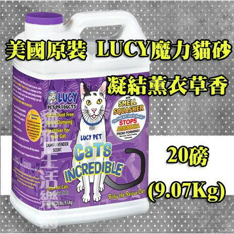 美國原裝LUCY魔力貓砂(凝結)薰衣草-20磅(9.07Kg)
