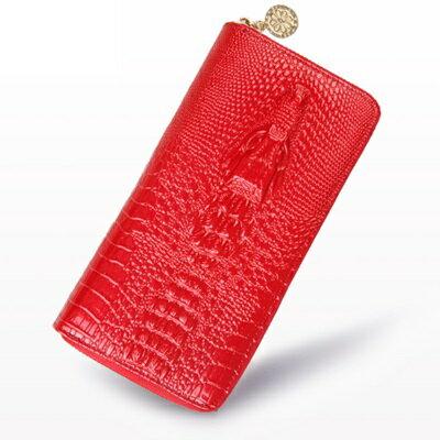 長夾真皮手拿包-歐美時尚經典鱷魚紋大容量女皮夾7色73rs26【獨家進口】【米蘭精品】