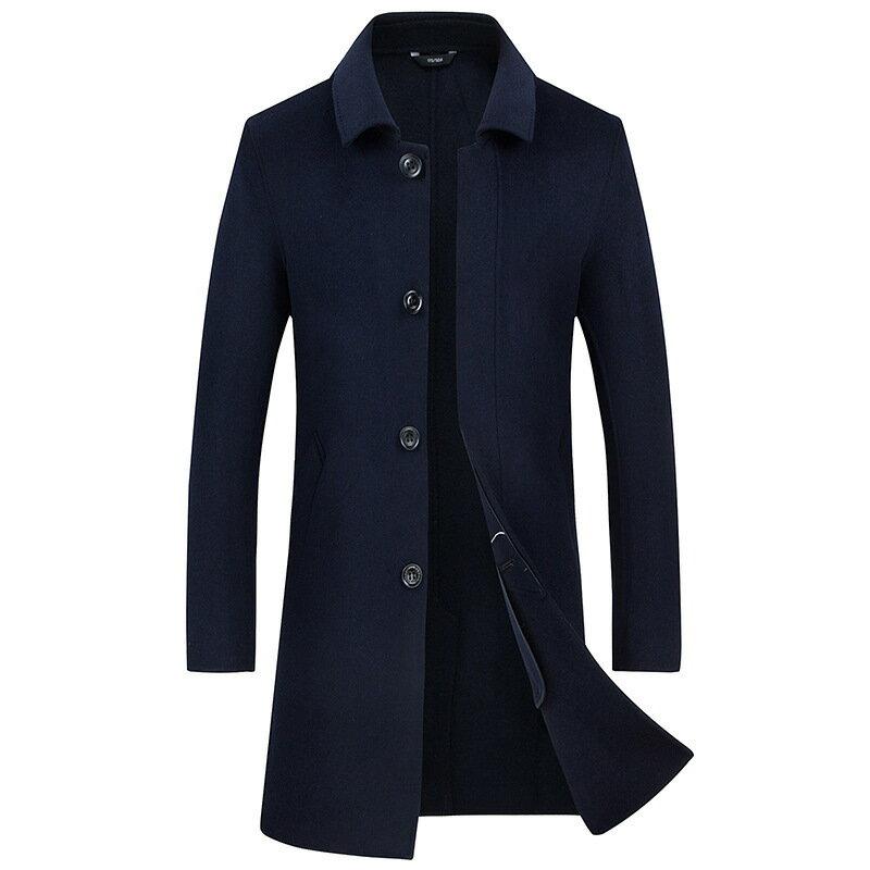 毛呢大衣中長版風衣-休閒修身翻領單排扣男外套2色73wk18【獨家進口】【米蘭精品】 0