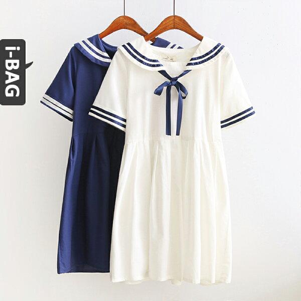 B.A.G*現+預*【DA1734】海軍風蝴蝶結綁帶短袖洋裝(現+預)-2色