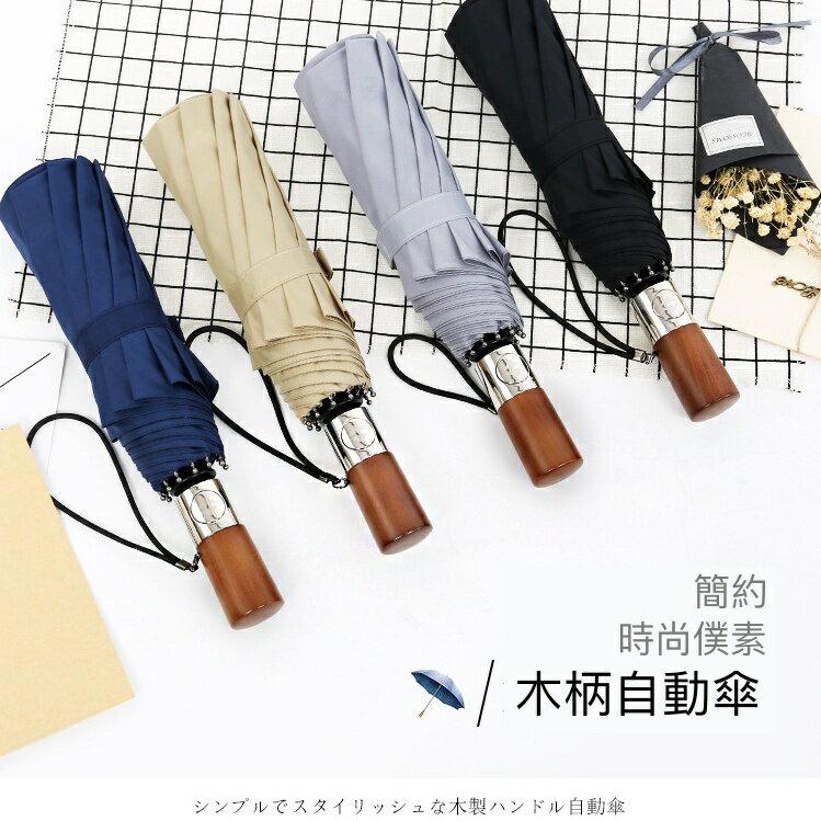 【現貨免等】復古實木手柄雨傘 自動傘 折疊傘【UBAAST23】 1