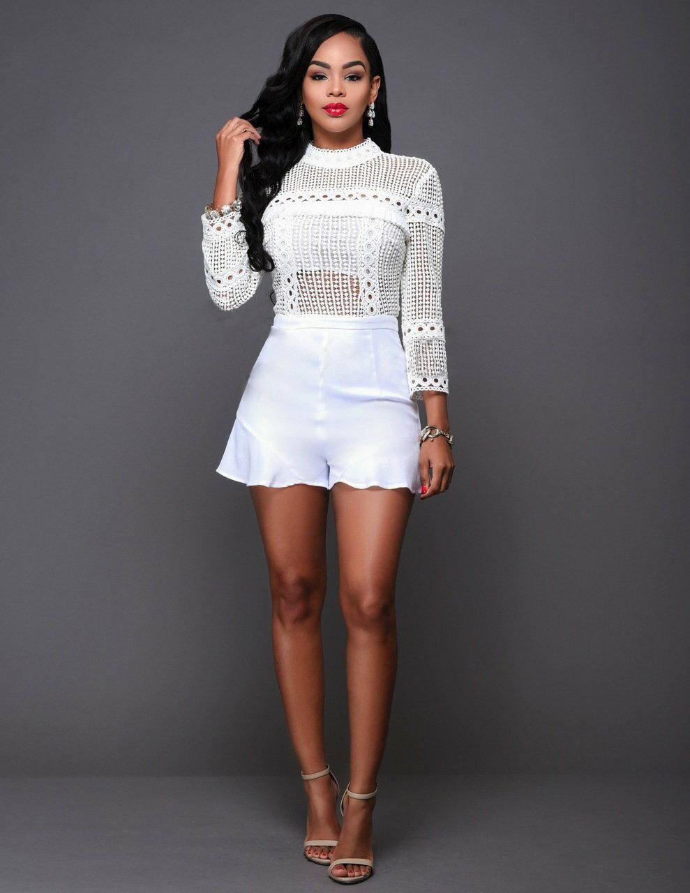歐美秋季新款時尚高領網眼鏤空 白色長袖連身褲裙 N275